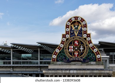 LONDON, UK - MARCH 11 : Old Railway Company Sign on the South Bank of the River Thames in London on March 11, 2019