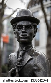 LONDON, UK - MARCH 11 : Statue of Charlie Chaplin in Leicester Square London on March 11, 2019