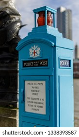 LONDON, UK - MARCH 11 : Traditional Police public call post on Victoria Embankment  in London on March 11, 2019