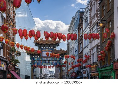 LONDON, UK - MARCH 11 : View of Chinatown in Soho London on March 11, 2019