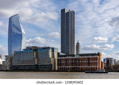 LONDON, UK - MARCH 11 : View of the skyline of London on March 11, 2019