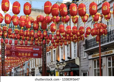 LONDON, UK - MARCH 11 : View of China town in Soho London on March 11, 2019