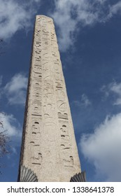 LONDON, UK - MARCH 11 : View of the Cleopatra's Needle London on March 11, 2019