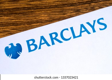 London, UK - March 12th 2019: The logo for Barclays bank pictured on the corner of an information leaflet.