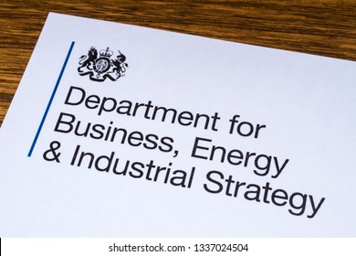 London, UK - March 12th 2019: The logo for the Department for Business, Energy and Industrial Strategy, pictured on a piece of paper or leaflet. The BEIS is a department of the government of the UK.