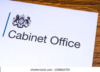 London, UK - March 12th 2019: Logo for the Cabinet Office, pictured on a piece of paper or leaflet. It is a department of the government of the UK responsible for the Prime Minister and Cabinet.