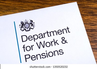 London, UK - March 12th 2019: Logo of the Department for Work and Pensions, pictured on a piece of paper or leaflet. The Dept for Work and Pensions is a department of the UK Government.