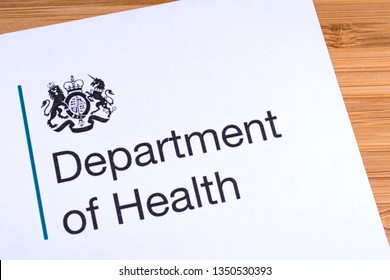 London, UK - March 12th 2019: Logo of the Department of Health, pictured on a piece of paper. The Department of Health is a department of the UK Government.