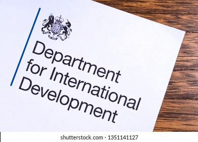 London, UK - March 12th 2019: Logo of the Department for International Development, pictured on a piece of paper. The DFID is a department of the UK Government responsible for overseas aid.