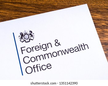 London, UK - March 12th 2019: Logo of the Foreign and Commonwealth Office, pictured on a piece of paper or leaflet.