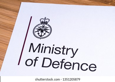 London, UK - March 12th 2019: Logo of the UK Ministry of Defence, pictured on a piece of paper or leaflet.