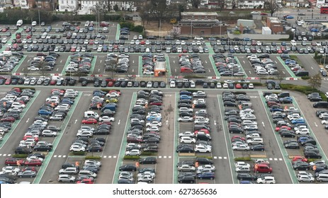 London, UK - March 14, 2017: Aerial view of vehicles parked in a car park near Heathrow Airport.