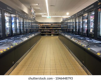 London, UK: March 14, 2018: Products for sale in the frozen food department of an Aldi Store. Aldi is the common brand of two discount supermarket chains with over 10,000 stores in 20 countries.