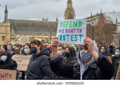 London, Uk, March 14 2021, Thousands of people gathered to protest against the police brutality on the day before during the vigil for Sarah Everard.