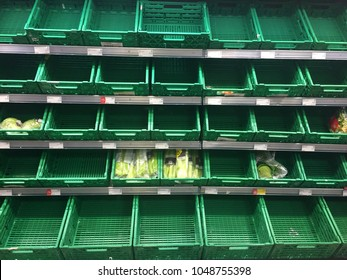 LONDON, UK - March 14th 2018: Empty products shelves in a co-op food store