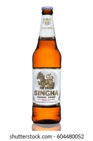 LONDON, UK - MARCH 15, 2017: Bottle of Singha beer on white background , Singha beer is most popular in thailand , Rayong , Thailand