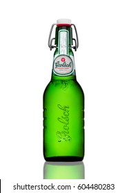 LONDON, UK - MARCH 15, 2017: Bottle of Grolsch Premium Lager beer with flip-top cap on white background.