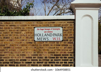 London, UK / March 15 2018: Street Name Sign on Holland Park Mews near Holland Park in Notting Hill, The Royal Borough of Kensington and Chelsea, London, UK