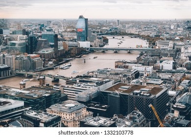 LONDON / UK - March 15, 2018: A view on the City in London from Sky Garden