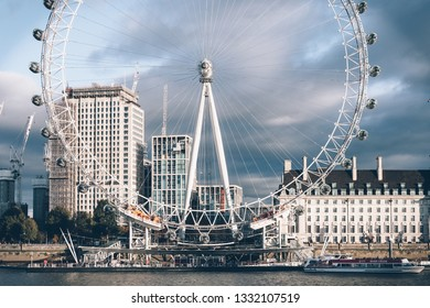 London / UK - March 15, 2018: A view on the South Bank and London Eye
