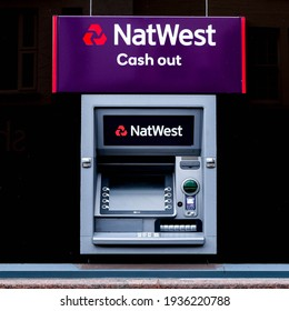 London UK, March 15 2021, NatWest Cash Point ATM Machine With No People