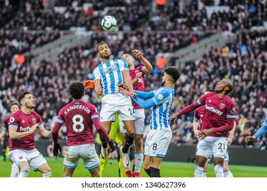 London, UK - march 16 2019: Steve Mounié of Huddersfield Town  during the Premier League match between West Ham United and Huddersfield Town at the London Stadium, Queen Elizabeth Olympic Park
