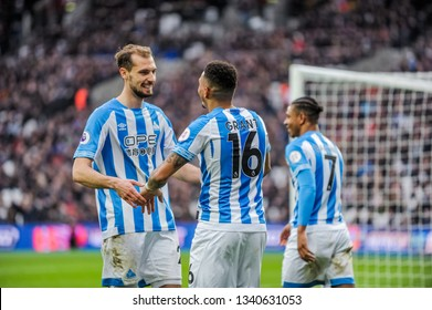 London, UK - march 16 2019: Karlan Grant of Huddersfield Town celebrates his goal  during the Premier League match between West Ham United and Huddersfield Town at the London Stadium, Queen Elizabeth