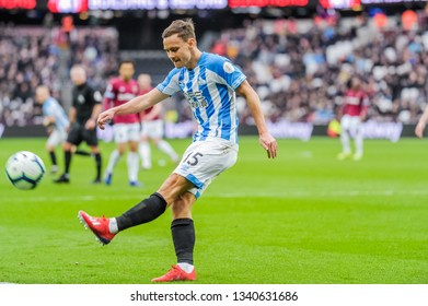 London, UK - march 16 2019: Chris Löwe of Huddersfield Town  during the Premier League match between West Ham United and Huddersfield Town at the London Stadium, Queen Elizabeth Olympic Park