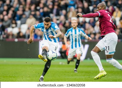 London, UK - march 16 2019: Karlan Grant of Huddersfield Town scores his goal during the Premier League match between West Ham United and Huddersfield Town at the London Stadium, Queen Elizabeth