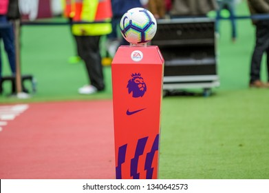 London, UK - march 16 2019: the official ball of Premier League during the Premier League match between West Ham United and Huddersfield Town at the London Stadium, Queen Elizabeth Olympic Park