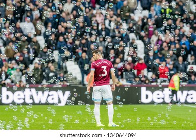 London, UK - march 16 2019: Aaron Cresswell of West Ham United  during the Premier League match between West Ham United and Huddersfield Town at the London Stadium, Queen Elizabeth Olympic Park