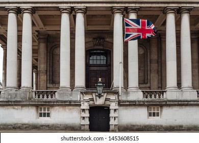 London, UK - March 16, 2019; View on the Old Royal Naval College. The Old Royal Naval College is the architectural centrepiece of Maritime Greenwich, a World Heritage Site in Greenwich, London.