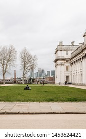 London, UK - March 16, 2019; Side view on the Old Royal Naval College. The Old Royal Naval College is the architectural centrepiece of Maritime Greenwich, a World Heritage Site in Greenwich, London.