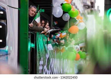 LONDON, UK - March 17th 2019: People celebrate St Patrick's day in London