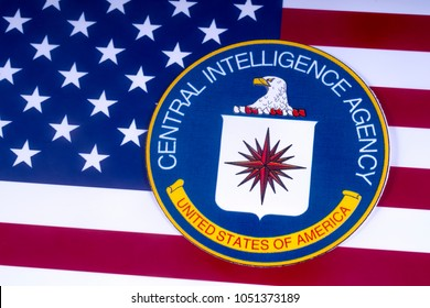 LONDON, UK - MARCH 18TH 2018: The symbol of the Central Intelligence Agency over the US Flag, on 18th March 2018.  The CIA is a civilian foreign intelligence service of the US federal government.