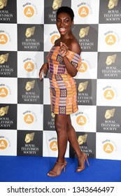 LONDON, UK. March 19, 2019: Michaela Coel arriving for the Royal Television Society Awards 2019 at the Grosvenor House Hotel, London.