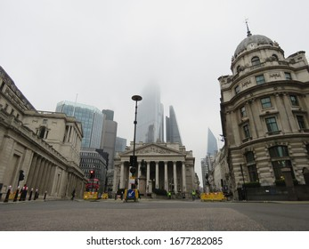 London / UK - March 19th 2020: Empty streets around the Bank of England in the City of London which is normally busy at lunchtime are deserted as people stay at home during the COVID-19 coronavirus