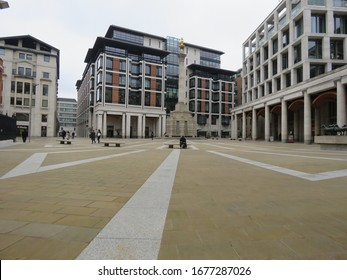 London / UK - March 19th 2020: Paternoster Square by The London Stock Exchange, City of London which is normally busy at lunchtime is deserted as people work from home during the COVID-19 coronavirus
