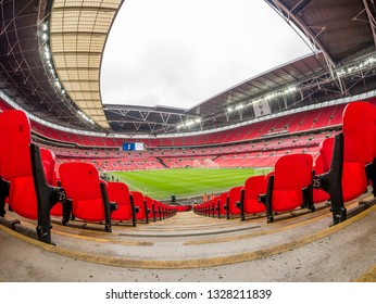 London, UK - March 2 2019: panoramic interior view of the Wembley stadium before a football match