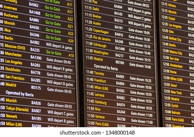 London, UK. March 20 2019. A Flight Departure Board at Terminal 5, Heathrow Airport.