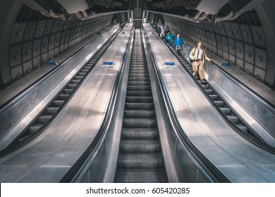 LONDON, UK - MARCH, 2016: Escalator moving up in the London Underground