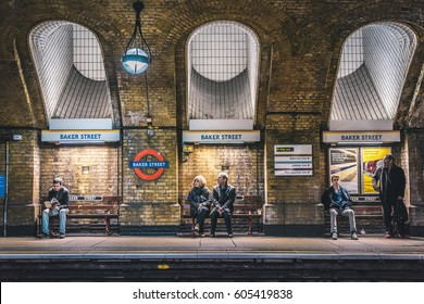 LONDON, UK - MARCH, 2016: Famous Baker Street tube station and people awaiting the train