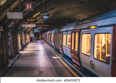 LONDON, UK - MARCH, 2016: Famous Baker Street tube station and moving train