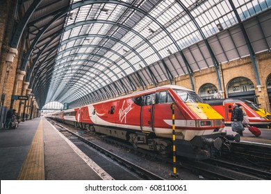 LONDON, UK - MARCH, 2016: The Kings Cross train Station in central London.Virgin Trains is the main operator out of this railway station.