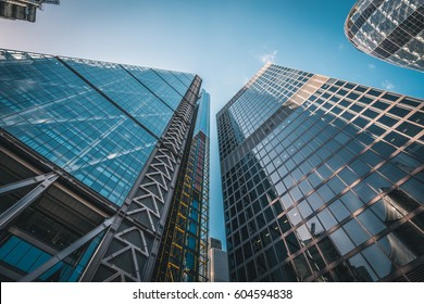 LONDON, UK - MARCH, 2016: Low angle shot of the skyscrapers in the center of London, UK. Beautiful and modern architecture.