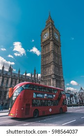 LONDON, UK - MARCH, 2017: Famous Big Ben clock tower and the famous London red bus routemaster.