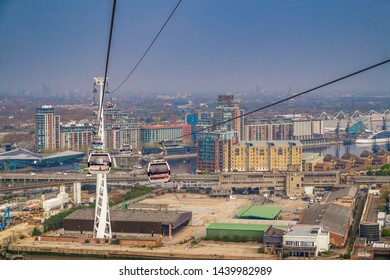 LONDON UK - MARCH 2019: The London Cable Car known as 'The Emirates Air Line', is a cable-car which crosses the River Thames in East London, between The Royal Docks near Canning Town and Greenwich
