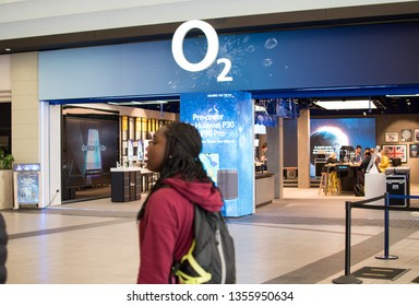 London, UK - March 2019: O2 mobile phone shop inside the O2 arena