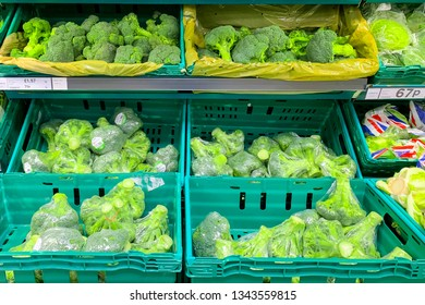 LONDON, UK, March 2019: Tesco supermaket, view on green vegetables