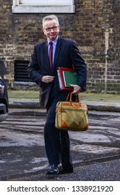 London, UK- March  2019:Michael Gove Sectretary of State for Rural Affairs arrives in Downing Street for a cabinet meeting ahead of this evening vote  on the government motion to delay Brexit.